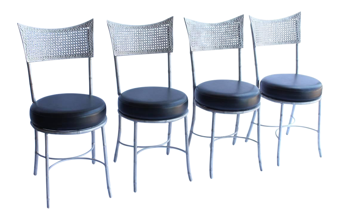 Vintage Mid Century Metal Faux Bamboo And Cane Chairs  Set Of 4 For Sale