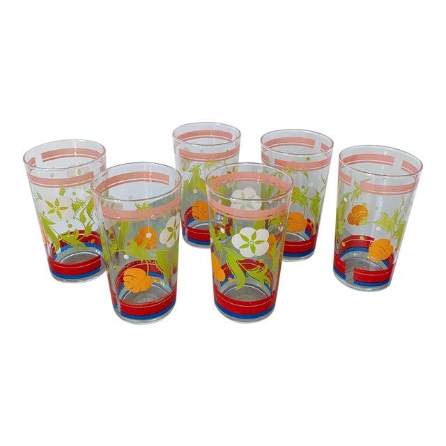 Vintage 1950s Floral Kitsch Drinking Glasses - Set of 6 For Sale