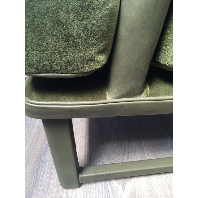Green Leather & Mohair Lounge Chair - Image 8 of 10