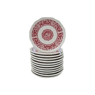 Heavy Red & White Hors d'Oeuvre / Snack Plates - Set of 12