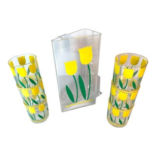 Mid-Century Modern Stotter Acrylic Daffodils Pitcher and Glasses Set - 3 Piece Set For Sale