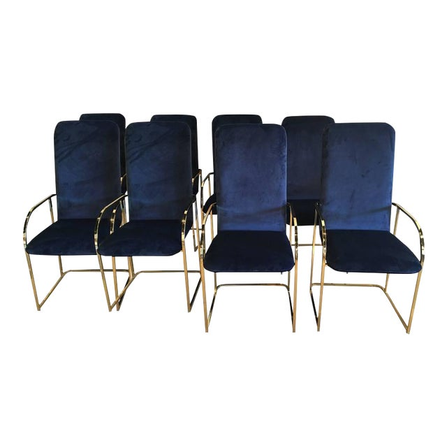 DIA Brass Navy Velvet Dining Arm Chairs - Set of 12 For Sale - Image 9 of 9