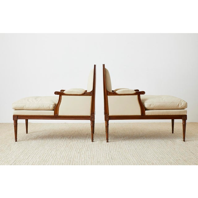 Mid 20th Century Maison Jansen Louis XVI Style Long Bergere Armchairs - a Pair For Sale - Image 5 of 13