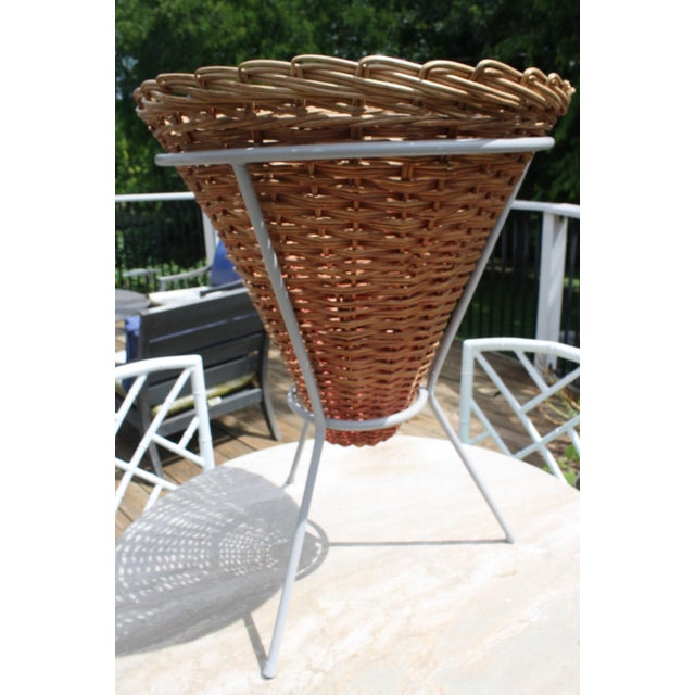 Mid-Century Wicker Basket Planter on Metal Tripod Stand / Wicker and Metal Dining Table Base For Sale - Image 11 of 13