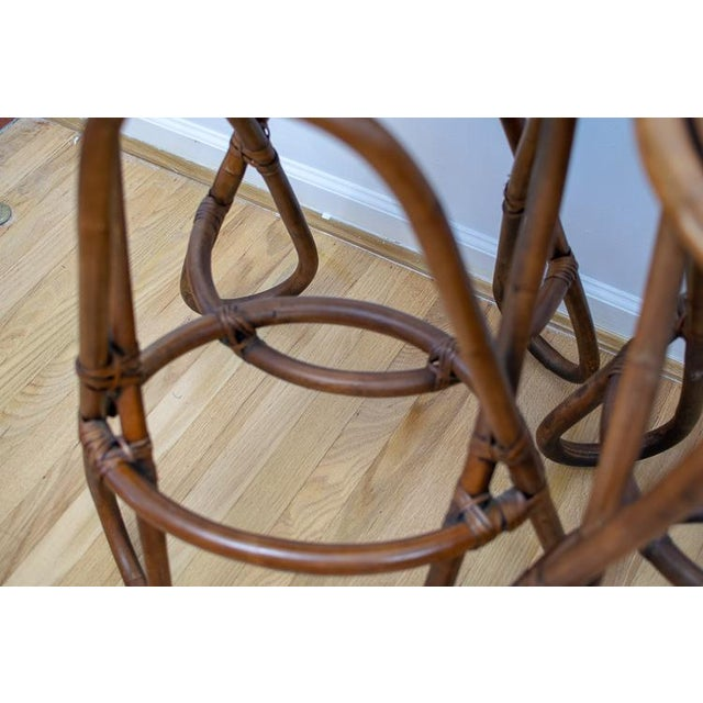 Vintage Mid-Century Twisted Wood Rattan Stools - A Pair For Sale - Image 9 of 10