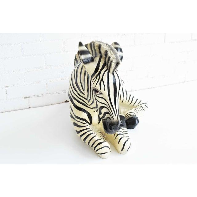 1970s Large Italian Ceramic Zebra For Sale - Image 5 of 7