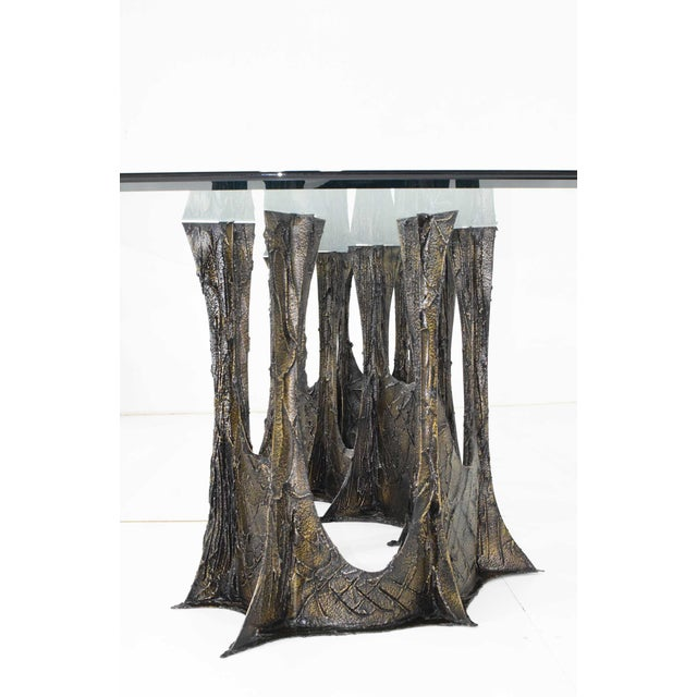 1970s Paul Evans Brutalist Stalagmite Bronze and Resin Base Dining Table, 1972, Signed For Sale - Image 5 of 13