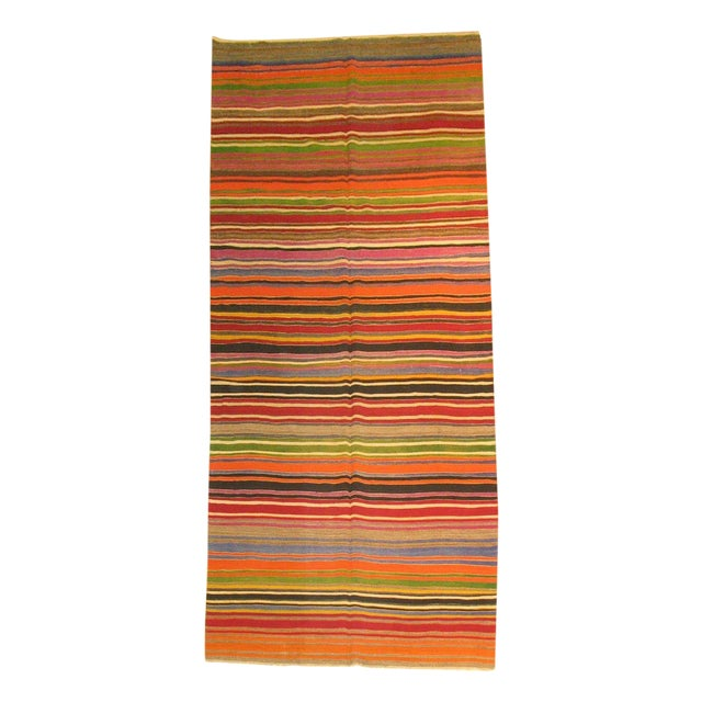 Multi-Colored Striped Turkish Kilim Rug For Sale