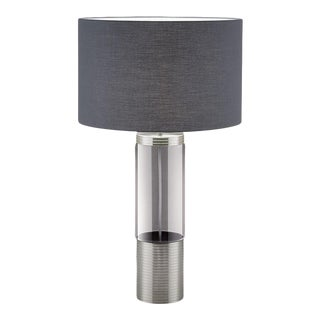 Brushed Nickel With Iridescent Smoke Glass Lamp (With Shade) For Sale