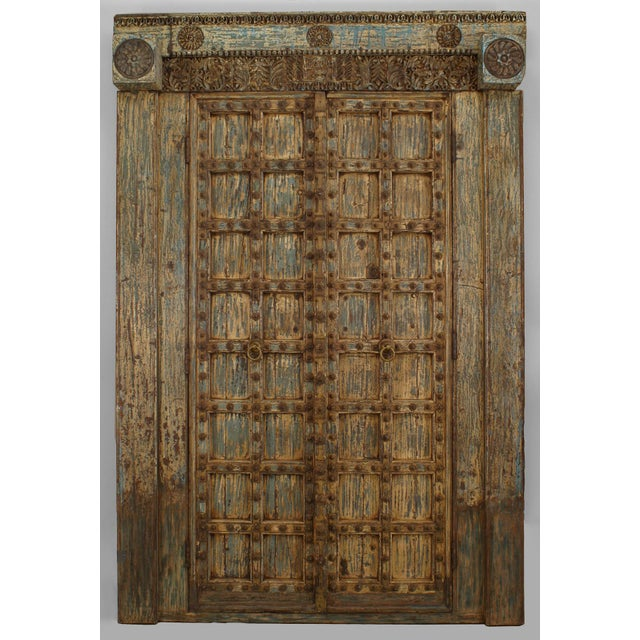 Brown Asian Blue & White Distressed Painted and Carved Pair of Doors in a Frame For Sale - Image 8 of 8