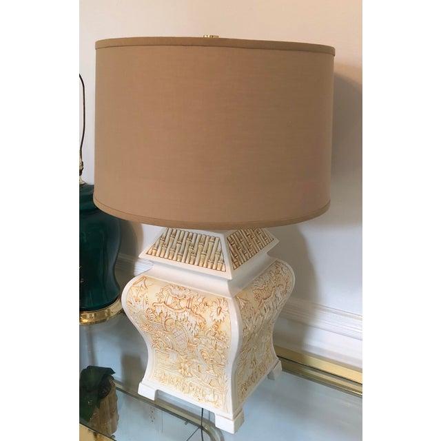 Italian Italian Porcelain Pagoda Table Lamp With Shade For Sale - Image 3 of 9