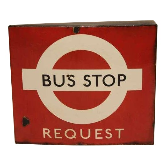 """1950's Vintage English Porcelain Double Sided """"Bus Stop"""" Sign For Sale"""