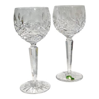 Waterford Kenmare Wine Hock Cut Crystal Blown Glasses, Ireland - a Pair For Sale