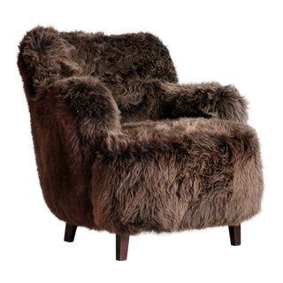 Fritz Hansen Style Danish 1950s Lounge Chair Covered in Icelandic Sheepskin For Sale