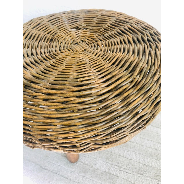 Vintage Tony Paul Wicker Stool For Sale In San Francisco - Image 6 of 10