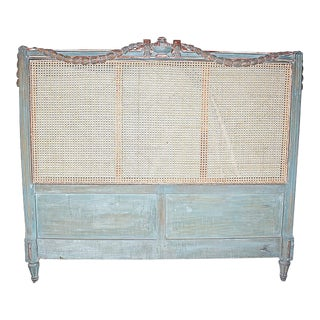 19th Century French Caned Queen Headboard For Sale