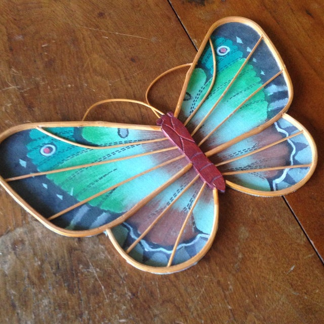 Vintage Rattan & Fabric Butterfly Wall Art - Set of 3 - Image 5 of 11