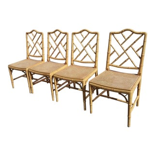 Set of Four Faux Bamboo Carved Wood Chairs For Sale