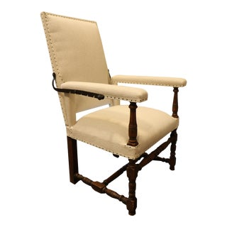 French 19th Century Reclining Library/Ailing Custom Made Chair, Newly Reupholstered For Sale
