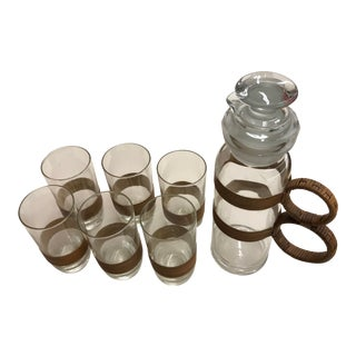 1960s Cocktail Shaker and Highball Glasses Set - Set of 7 For Sale
