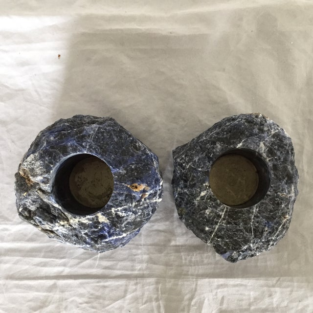 Sodalite Blue Stone Candleholders- A Pair For Sale In Los Angeles - Image 6 of 6