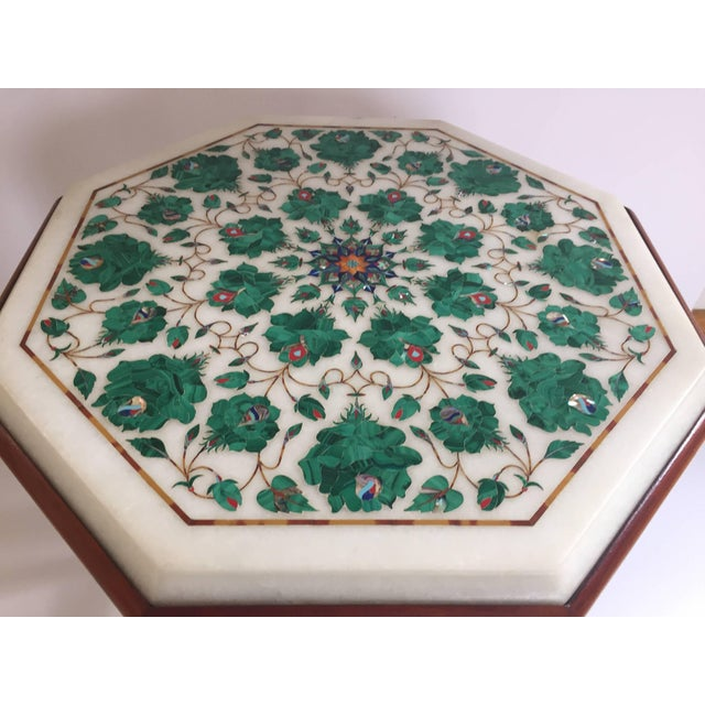 Pietra Dura Marble-Topped Octagonal Table Inlaid in Taj Mahal Anglo Raj Style For Sale In Los Angeles - Image 6 of 13