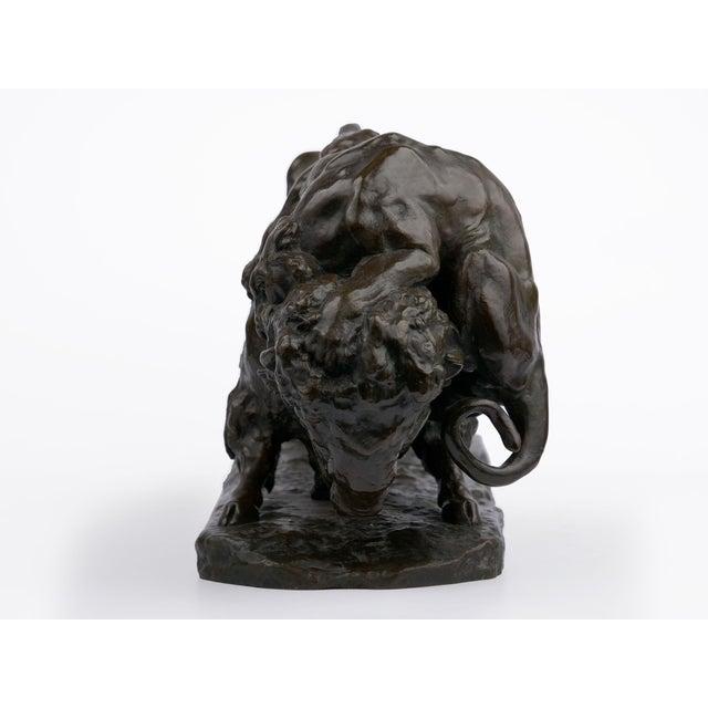 "French ""Bison Et Jaguar"" French Bronze Sculpture Cast After Model by Georges Gardet For Sale - Image 3 of 13"