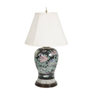 Japanese Hand Painted Porcelain Lamp For Sale