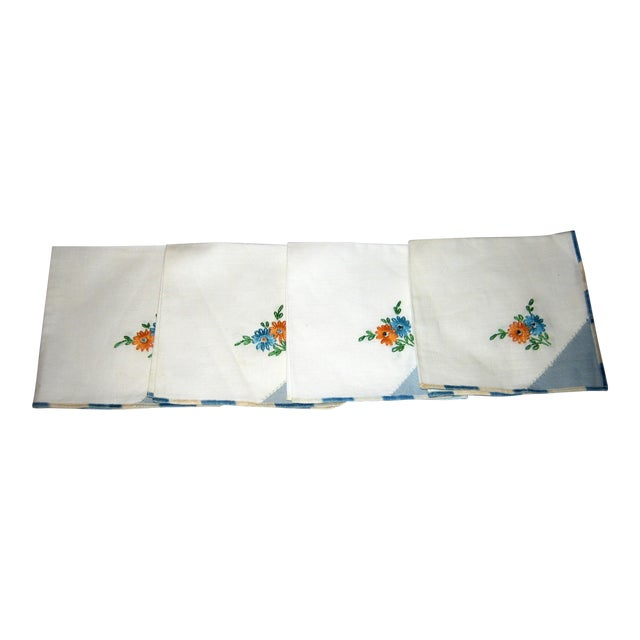 Vintage Cotton Napkins - Set of 4 For Sale