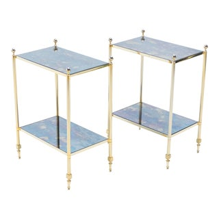 1960s French Maison Jansen Brass Mirrored Two-Tier End Tables - a Pair For Sale