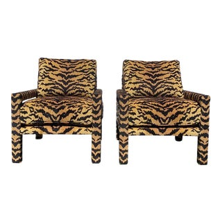 Pair of New Milo Baughman Style Parsons Chairs in Ultra-High-End Designer Tiger For Sale