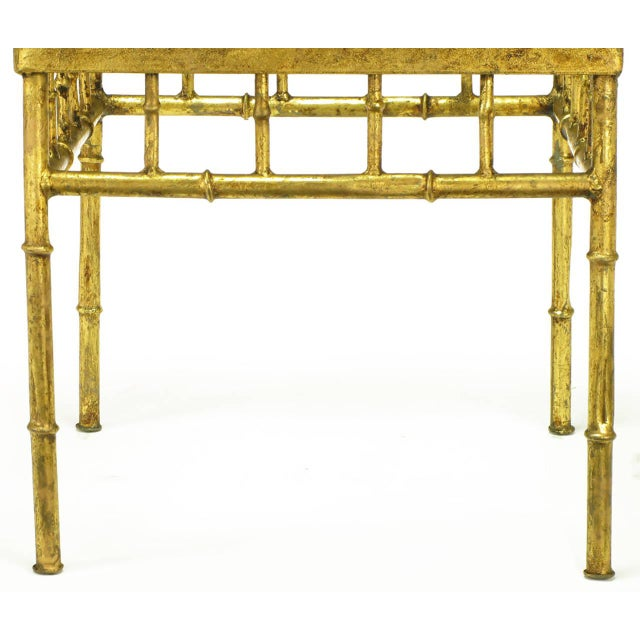 Hollywood Regency Italian Glazed Gilt Metal Faux Bamboo End Tables - a Pair For Sale - Image 3 of 7