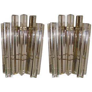 Pair of Vintage Camer Glass Sconces For Sale