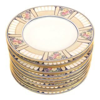 Hutschenreuther Art Deco Hand Painted Floral Enamel Service Plates - Set of 12 For Sale