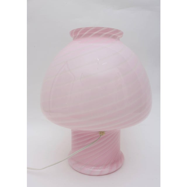 Late 20th Century Vetri Murano Pink Glass Table Lamp in a Mushroom Form and Swirl Motif For Sale - Image 5 of 10