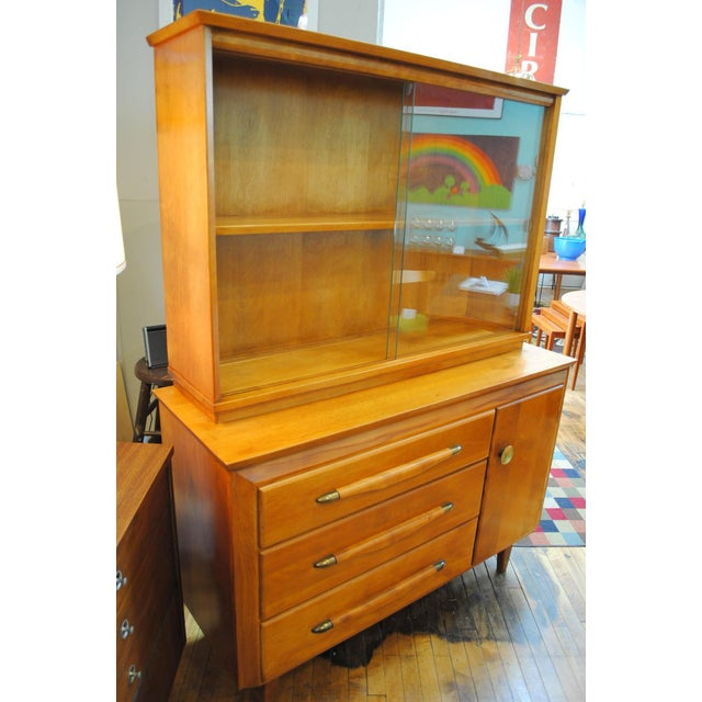 Brass Mid Century Modern Temple Stuart Credenza/Hutch-1950's For Sale - Image 7 of 12