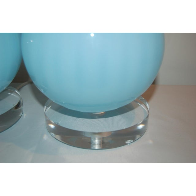 Joe Cariati Glass Ball Table Lamps Blue For Sale - Image 9 of 10
