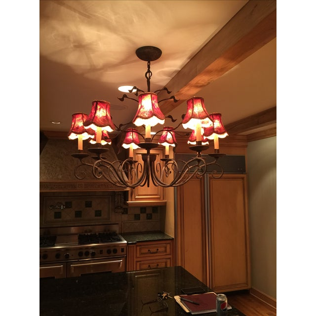 Iron Red And Gold Chandelier - Image 2 of 3