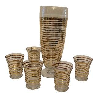1960s Gold Banded Cocktail Set For Sale
