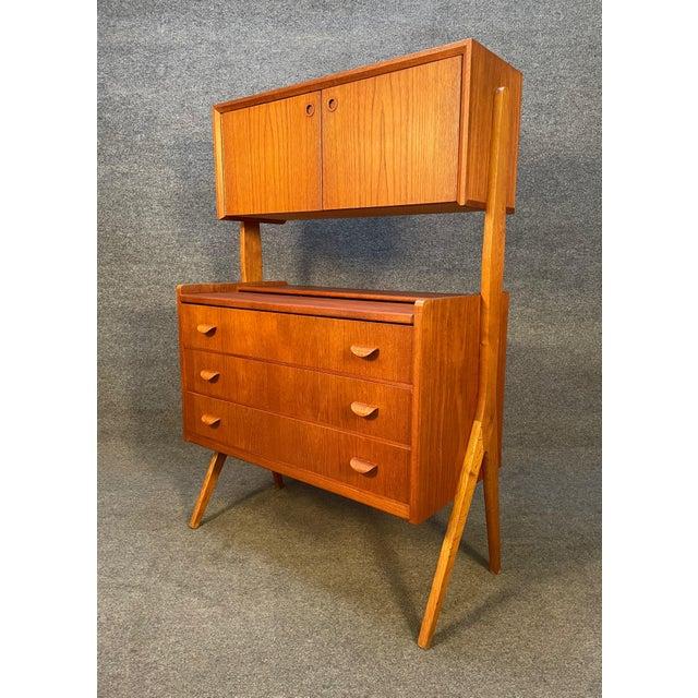 Brown Vintage Danish Mid Century Modern Teak and Oak Secretary Desk Vanity For Sale - Image 8 of 11