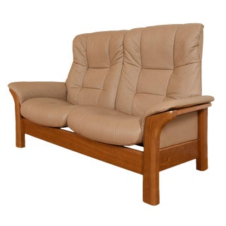 Individually Reclining 2-Seat Leather & Teak Loveseat by Ekornes For Sale