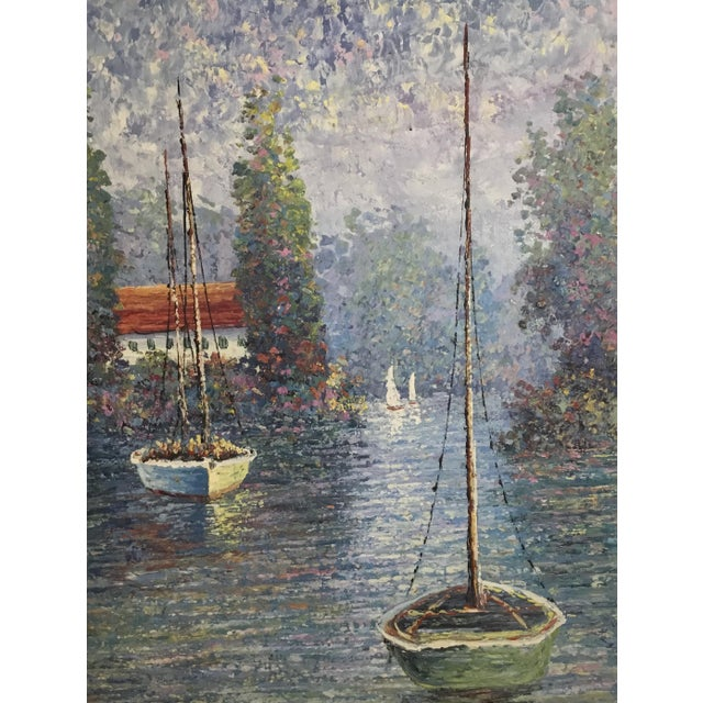 Vintage Sailing Boats on the Lake Oil on Canvas Painting For Sale - Image 4 of 11
