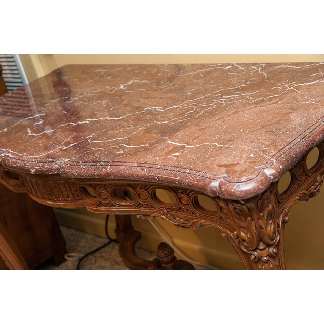 Brown Marble top console For Sale - Image 8 of 9