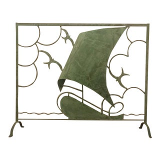 Art Deco Decorative Screen With Ship and Birds