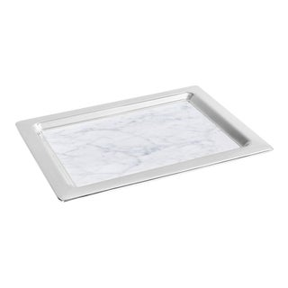 Dual Tray, Carrara Marble & Silver For Sale