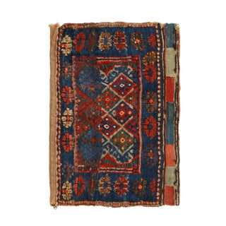 Late 19th Century Antique Tamboura Crimson and Blue Wool Persian Rug- 1′7″ × 2′4″ For Sale