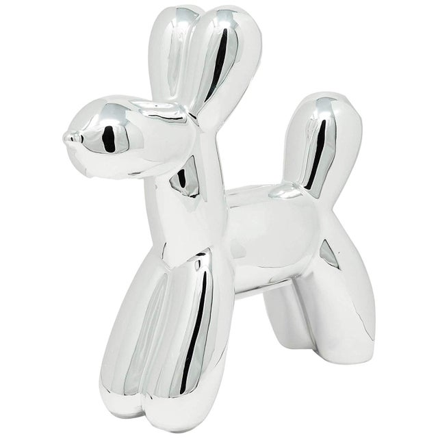 "Ceramic Interior Illusions Plus Silver Mini Balloon Dog Bank - 7.5"" Tall For Sale - Image 7 of 7"