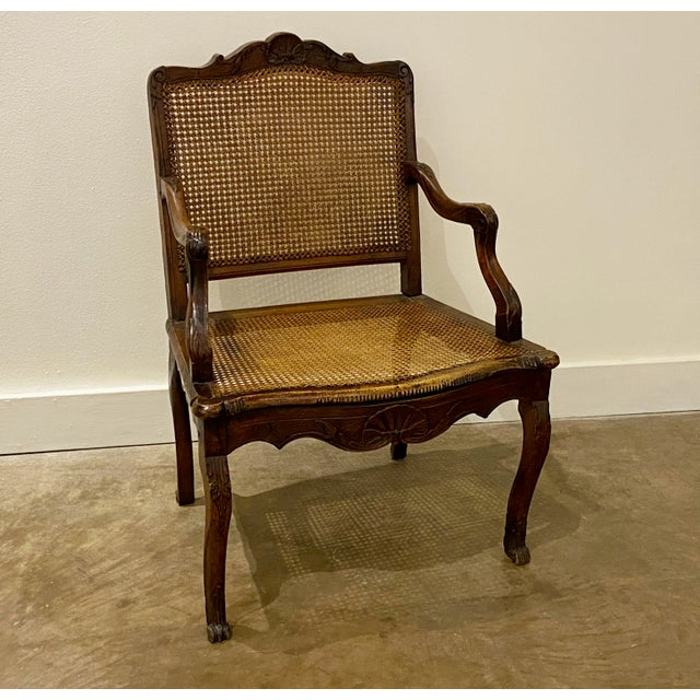Mid 18th Century French Cane Arm Chair For Sale - Image 10 of 11