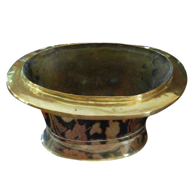 Late 19th Century Vintage Oval Brass Container For Sale