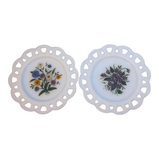 Early 20th Century Hand Painted Milk Glass Plates - a Pair For Sale